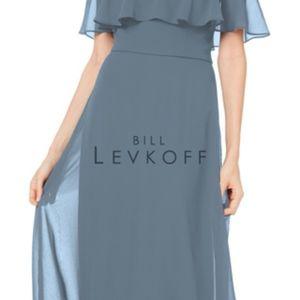 Bill LEVKOFF Slate chiffon Bridesmaid Dress Size 8
